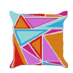 kit coussin demi point triangles 40x40 cm fini