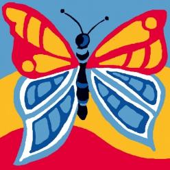 kit canevas soudan 25x25cm papillon