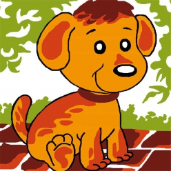kit canevas soudan blanc chien marron 25x25cm