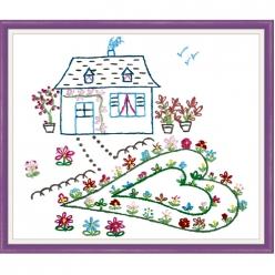 kit broderie traditionnelle petite maison fleurie  martine leonard