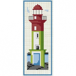 kit a broder point de croix marque page  phare