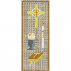 kit a broder point de croix marque page  communion