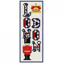 kit a broder point de croix marque page  london