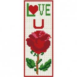 kit a broder point de croix marque page  la rose