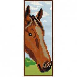 kit a broder point de croix marque page  cheval