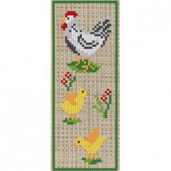 kit a broder point de croix marque page  les poules
