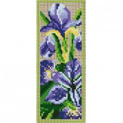 kit a broder point de croix marque page  iris