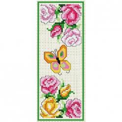 kit a broder point de croix marque page  les roses