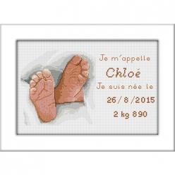 kit a broder point de croix naissance chloe