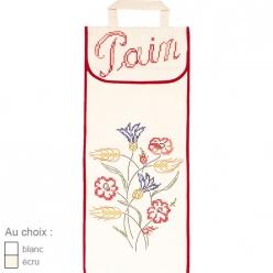 sac a pain en coton blanc ou ecru  fleurs des champs