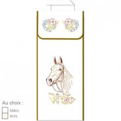 sac a pain en coton blanc ou ecru  cheval