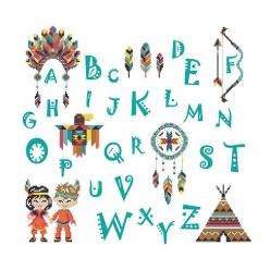 abecedaire abc les indiens 34x34 cm