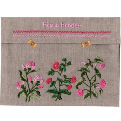 kit broderie traditionnelle pochette fils a broder rose