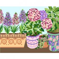 canevas blanc les pots de fleurs  45x60cm