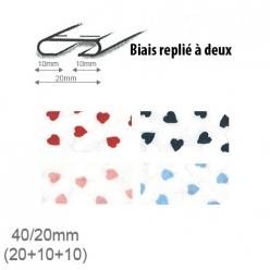 biais fantaisie motif coeur 20mm unis replie a 2  25m