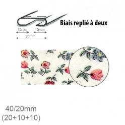 biais fantaisie motif petites fleurs 20mm replie a 2  25m