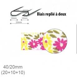 biais fantaisie motif fleurs roses et jaunes 20mm replie a 2  25m