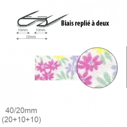 biais fantaisie motif fleurs 20mm replie a 2  25m