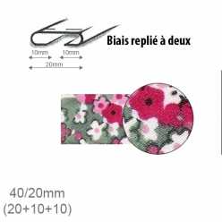 biais fantaisie motif fleurs roses 20mm replie a 2  25m