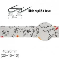 biais fantaisie motif lapin et dessin 20mm replie a 2  25m