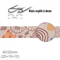 biais fantaisie motif petit chien et gribouillage 20mm replie a 2  25m
