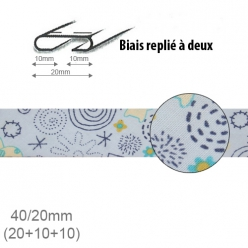 biais fantaisie motif dessin bleu 20mm replie a 2  25m