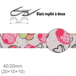 Biais fantaisie motif Cupcake rose 20mm replié à 2 - 25m