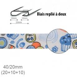 biais fantaisie motif cupcake bleu 20mm replie a 2  25m