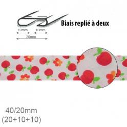biais fantaisie motif pomme et fleur 20mm replie a 2  25m
