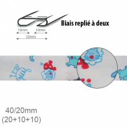 biais fantaisie motif animaux bleu et rouge 20mm replie a 2  25m