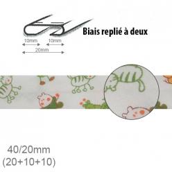 biais fantaisie motif animaux orange et vert 20mm replie a 2  25m