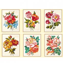 serie de 6 canevas assortis roses