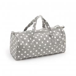 sac a ouvrage tricot 42x15x175 cm polka dot gris