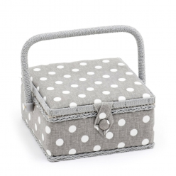 petite boite a couture polka dot grise 20x20 cm