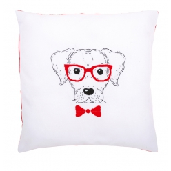kit coussin broderie traditionnelle chien a lunettes
