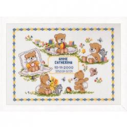 kit a broder point de croix naissance petits oursons