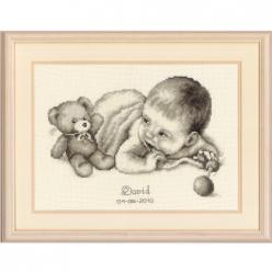 kit a broder point de croix naissance doudou et bebe