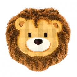 kit coussin point de croix et point noue lion souriant