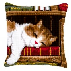 kit coussin point de croix chat dormant