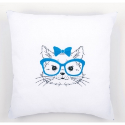 kit coussin broderie traditionnelle chat a lunettes