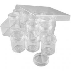 coffret de rangement avec 12 pots en plastique