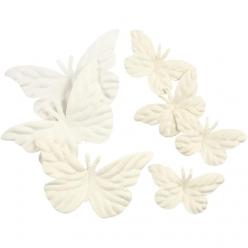 papillons en papier blanc casse assortiment 24 pieces