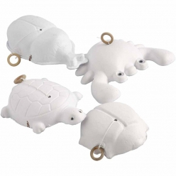 animaux en pate a papier lot de 4 avec ficelle