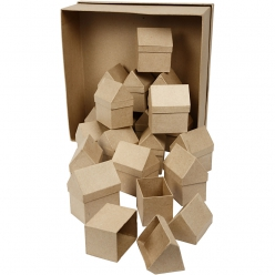 boite papier mache maisons 6x85 cm 40 pieces