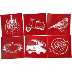 assortiment de 6 pochoirs decoratifs textile