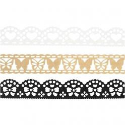 ruban adhesif en papier dentelle blanc noir 3x2 m