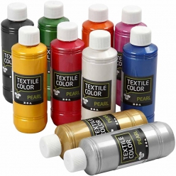 Peinture Textile color Pearl, assortiment 10x250ml