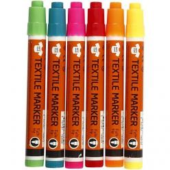 marqueurs textile 2 4 mm neons assortiment 6 pieces