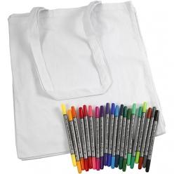 set 20 sacs en coton et marqueurs textile