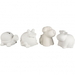 Tirelires animaux, assortiment lot de 4, terre cuite